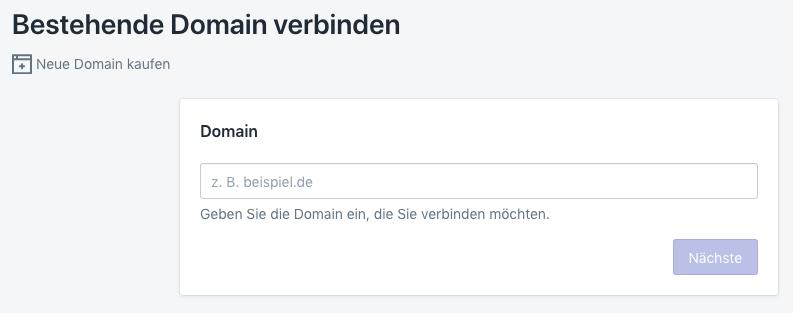 shopify bestehende domain verbinden