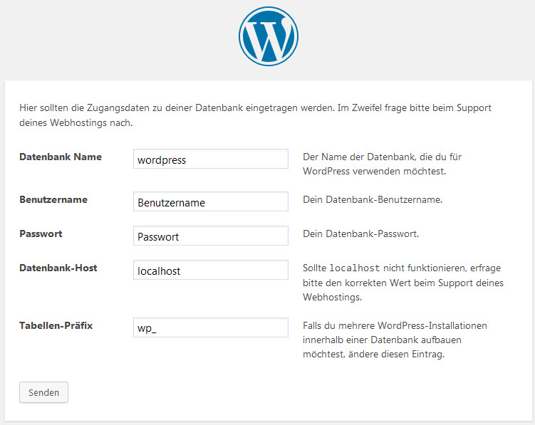 Das Datenbankfenster des WordPress Installationsassistenten.