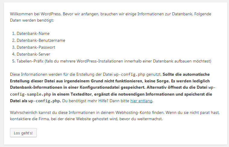 Der Bildschirm des WordPress Installationsassitenten